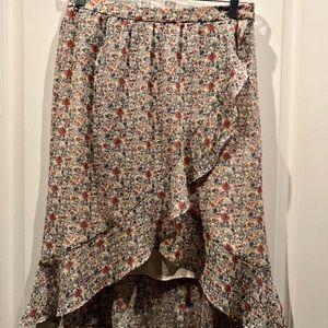 Madewell Floral Boho Tulip Asymmetrical Skirt sz 2